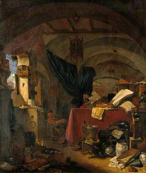 Interior with an Alchemist Studying a Book, His Assistant Pouring Liquid into a Bowl
