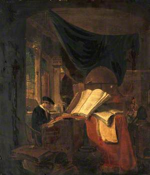 Interior with an Alchemist Seated at a Table, Writing