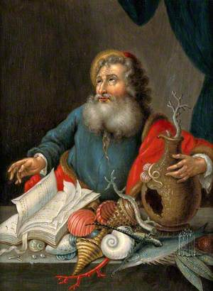 A Man with Coral, Shells, Fish and a Book