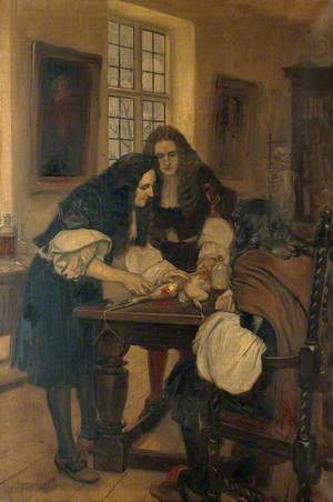Christopher Wren Demonstrating His Method of Introducing Drugs into a Vein, before Dr Willis, 1667