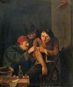 A Surgeon Attending to a Man's Arm