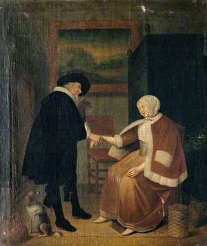 A Physician Taking a Woman's Pulse