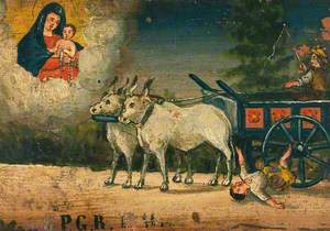 Votive Picture: A Boy Falling under the Wheel of an Ox Cart