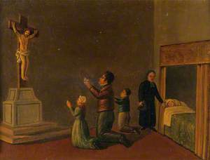 Votive Picture: Members of a Family Praying to Christ Crucified for the Health of a Relative in Bed