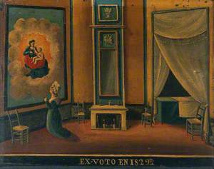 Votive Picture: A Woman Praying before a Painting or Tapestry of the Virgin and Child in Glory