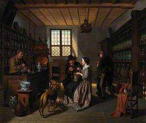 Interior of a Pharmacy, with Four Figures