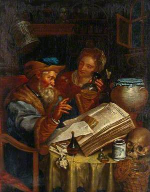 A Man Diagnosing from a Woman's Urine with the Aid of a Book by Galen