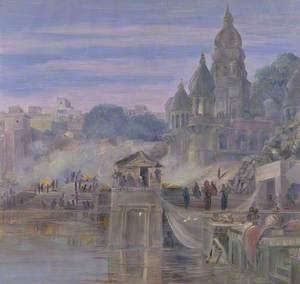 'The Burning Ghats. Benares. India. October 1878'