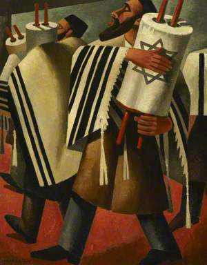 Two Rabbis Carrying the Scrolls of the Law