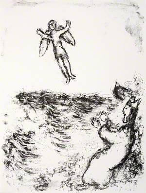 Prospero Sets Ariel Free, and He Is Seen Flying Upward above the Billowing Sea