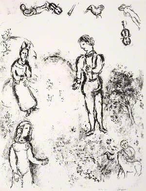 Ferdinand, Miranda, and Prospero, with Musical Spirits Flying above