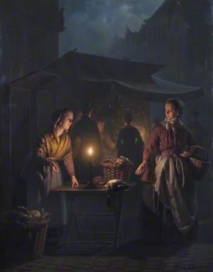 A Market Scene at Night