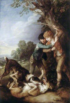 Two Shepherd Boys with Dogs Fighting
