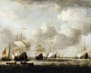 A Dutch Fleet Coming to Anchor in a Breeze
