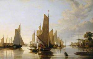 Yarmouth Water Frolic – Evening; Boats Assembling Previous to the Rowing Match