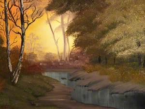Woodland Scene with River