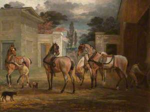Four Roan Coach Horses with Two Grooms