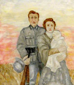 German Soldier with a Woman and a Child