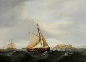 A Lugger off Castle Cornet, Guernsey