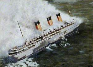 French Liner 'L'Atlantique' on Fire off the Channel Islands
