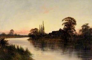 Riverside Scene at Sunset