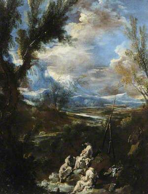An Italian Landscape with Three Hermits