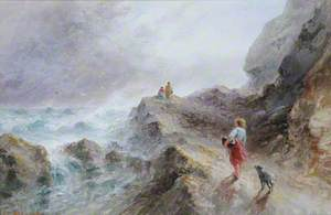 Girl and a Dog on Rocks at Gouffre, Guernsey