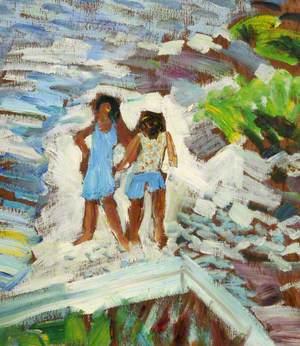 Two Children Walking on Broken Coral Rock with Wild Thyme Bush