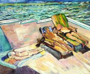 Al Oettinger, Brenda and Asta Loit on Patio, Windy Day, Aran Cay
