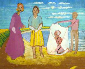 Unfinished Group of Figures on a Beach