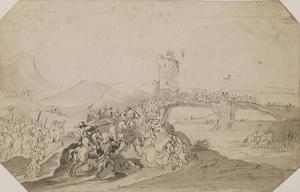 Battle Scene in Landscape with Bridge over a River