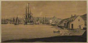 Coast Scene with Boats in a Harbour