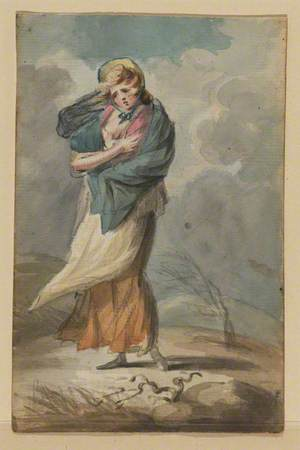 Young Woman and Her Child in a Storm