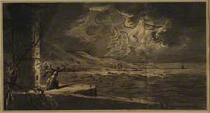 Study for a Book Illustration – Stormy Coast at Night