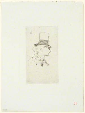 Baudelaire de profil, en chapeau (Baudelaire in Profile, in a Top-Hat)