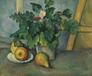 Pot of Primroses and Fruit