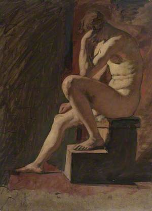 Seated Male Nude, Head Resting against Hand, Left Foot Resting on Block