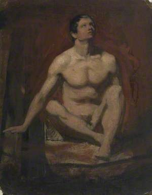 Seated Male Nude, Frontal View