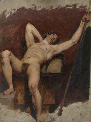 Reclining Male Nude, Raised Right Knee