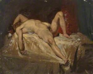 Male Nude Lying Down, Raised Left Knee