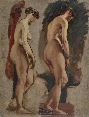 Two Full-Length Standing Female Nudes, Turned to the Right