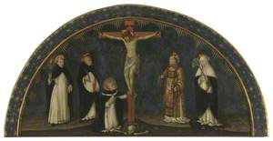 Crucifixion with Saints Vincent Ferrer, Peter Martyr, Stephen, Catherine of Siena and the Blessed Antonius at the Foot of the Cross