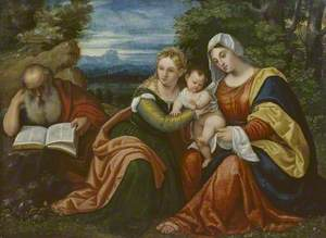Virgin and Child with Saint Catherine (?) and Saint Jerome in a Landscape