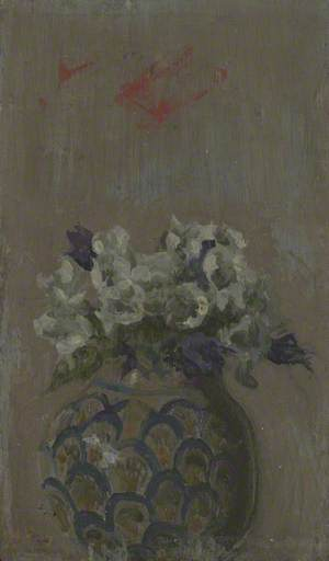Sweet Violets – White and Blue Violets in a Patterned Bowl