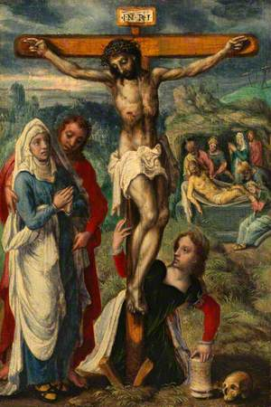 Christ on the Cross, with the Entombment in the Background