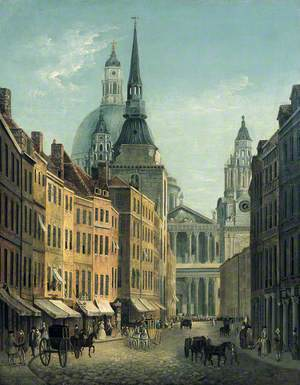 View of Ludgate Street from Ludgate Hill, with the West Front of St Paul's Cathedral, London