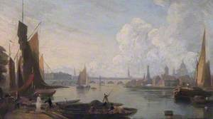 Waterloo Bridge and the Thames from Westminster Landing Stage, London