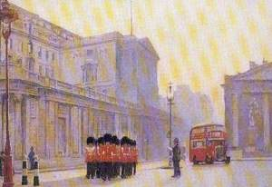 The Bank Guard Leaving the Bank at Sunrise