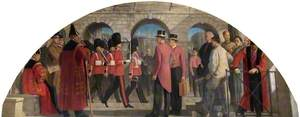 The Old Threadneedle Street Courtyard with the Guard Arriving at the Bank