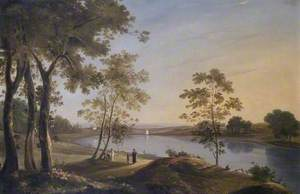 One of the Great Ponds between Hampstead and Highgate, London,  Looking towards the Surrey Hills